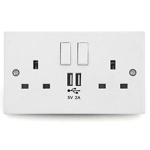 Wall-Socket-USB-Plug-Double-Power-Outlet-UK-13-Amp-Charger-2-Gang-Electric-Port