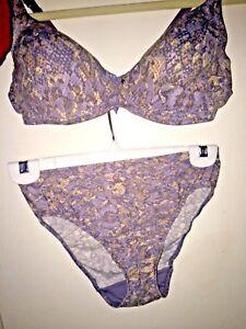 36c Victoria's Blue gray Bra 2 Secret Seamless Panty amp; Set Snakeskin Print wrtwq