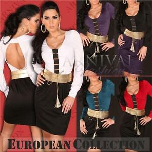 BELT-SHORT-DRESS-8-10-12-14-WOMEN-EVENING-WEAR-V-COCKTAIL-BODYCON-PARTY-sexy