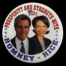 "2012 Mitt Romney Condoleezza Rice Prosperity & Strength 3"" Pinback Button"
