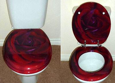 designer novelty printed toilet seat red rose design
