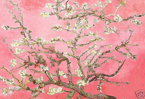 FLORAL CANVAS ART PAINTING PINK VAN GOGH BLOSSOM A1
