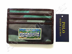 New-Ralph-Lauren-Polo-Camo-Green-Leather-Trim-Logo-Patch-Card-Case-Wallet