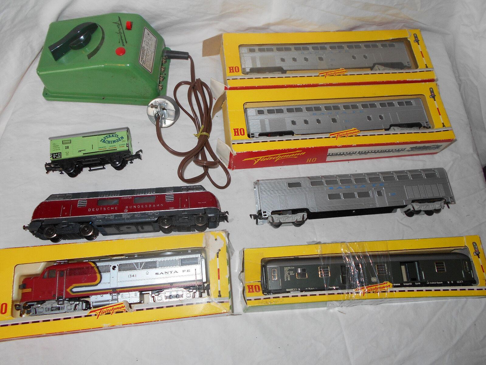 Fleichmann Santa Fe Passenger Train Set Deutsche Bundesbahn Engine Transformer +