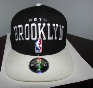 ca3059a8 Image is loading Brooklyn-Nets-NBA-Adidas-Black-White-Baseball-Snapback-