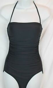 47e17eabe87bb J.Crew $102 D-Cup Ruched Bandeau One-Piece Swimsuit 4 Charcoal Gray ...