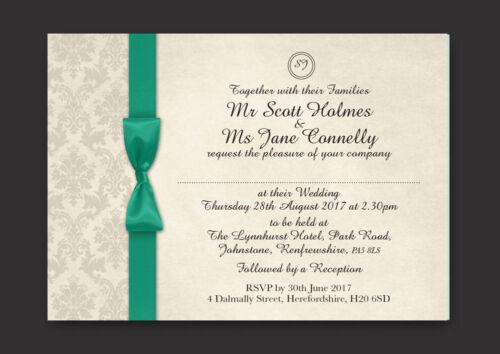 Noche Invitaciones Inc Envs-Verde Esmeralda Damasco Personalizado De Boda Día