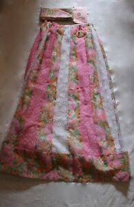 CHESSA-DAVIS-Pink-Floral-Print-Polka-Dot-Crochet-Lace-Patchwork-Peasant-Skirt