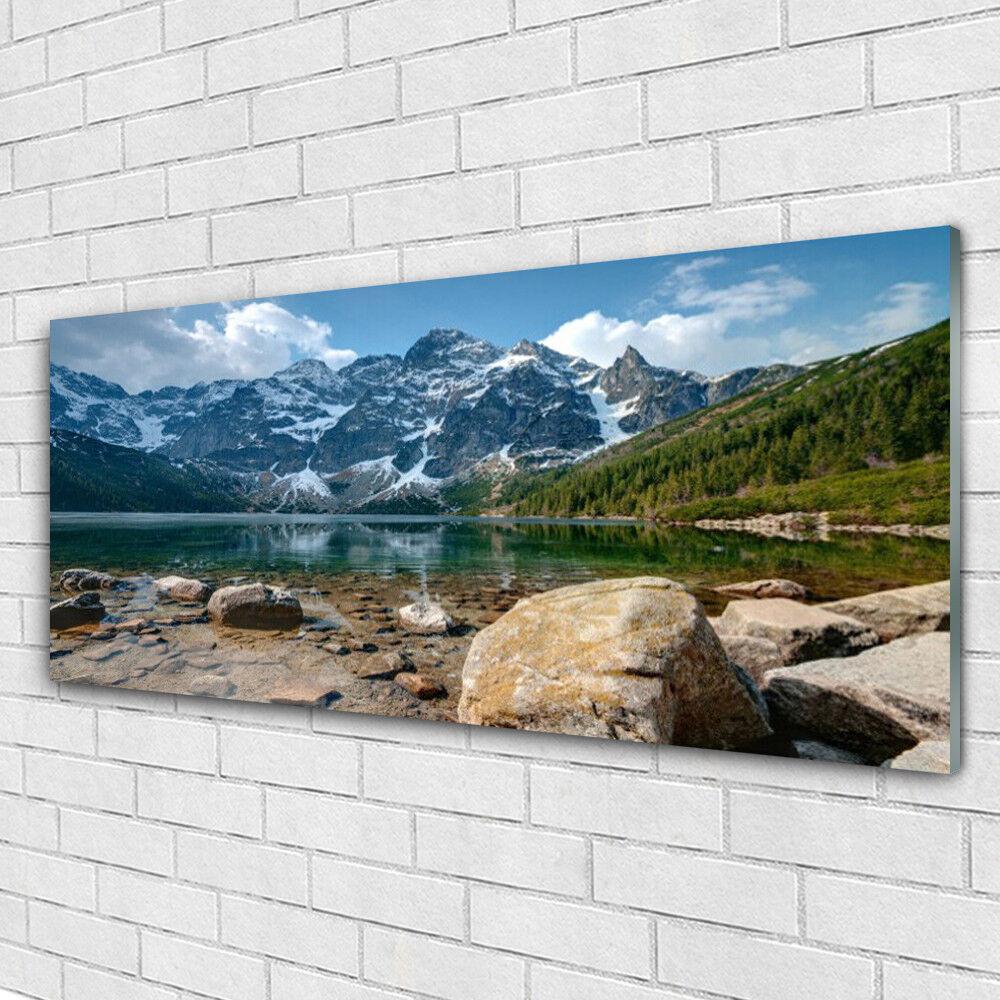 Tableau murale Impression sous verre 125x50 Paysage Montagnes Lac Pierres