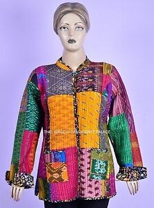 Vintage-Kantha-Handgefertigt-Lange-Jacke-Mantel-Gesteppte-Baumwolle-Blazer-Wende