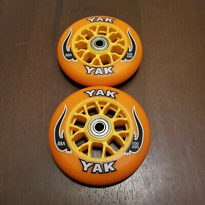 2x 100mm Replacement Wheels + Abec-7 Bearings For Razor Pro Kick Scooter Orange