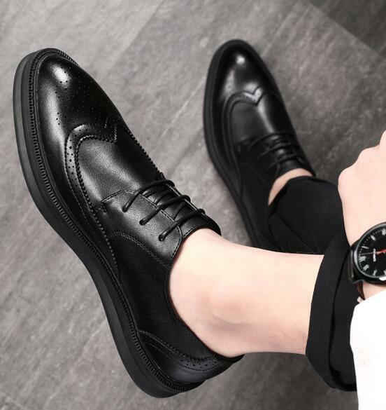 Fashion Mens Casual Faux Leather Lace Up Flat Formal Brogues Dress Wingtip shoes