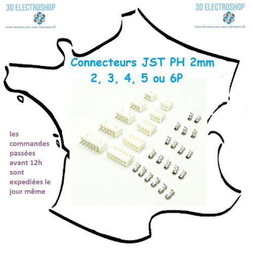 Lot de 10 connecteurs JST PH 2mm 2 5 ou 6P mâle femelle avec cosses 3 4