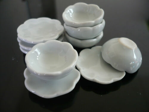10 White Scalloped Plates and Bowl  Dollhouse Miniatures Ceramic Supply Deco