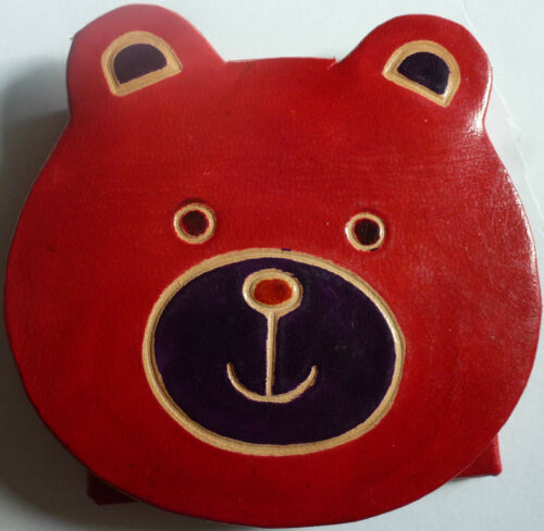 Teddy Bear Face Design *** Indian Leather Coin Purse Various Colours ***