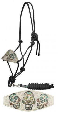 Showman Bronc Style Nylon Rope Halter w// Sugar Skull Print Noseband! NEW TACK!!