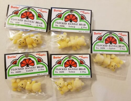 "Lot of 10 Darice Yellow Miniature 1/"" Flocked Banzai Teddy Bears No 16236 Craft"