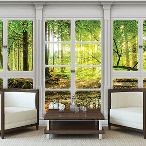poster tapeten fototapete wand bild ausblick fenster natur wald baum 10637 p4 2080008202932 ebay. Black Bedroom Furniture Sets. Home Design Ideas