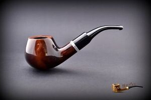 HAND-MADE-WOODEN-SMOKING-PIPE-for-TOBACCO-PEAR-no-67-Brown-Filter