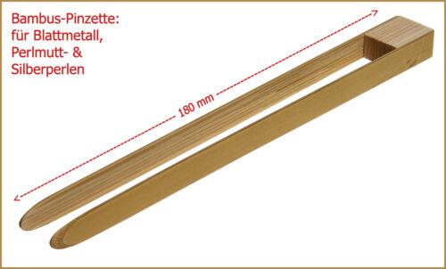 Top-oferta concha nacar /& plata perlas bambú-pinzas para hoja de metal