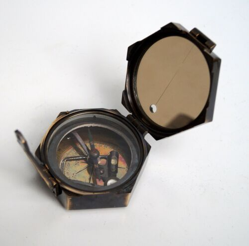 Antique brass brunton compass hexagon maritime camping collectible gift item