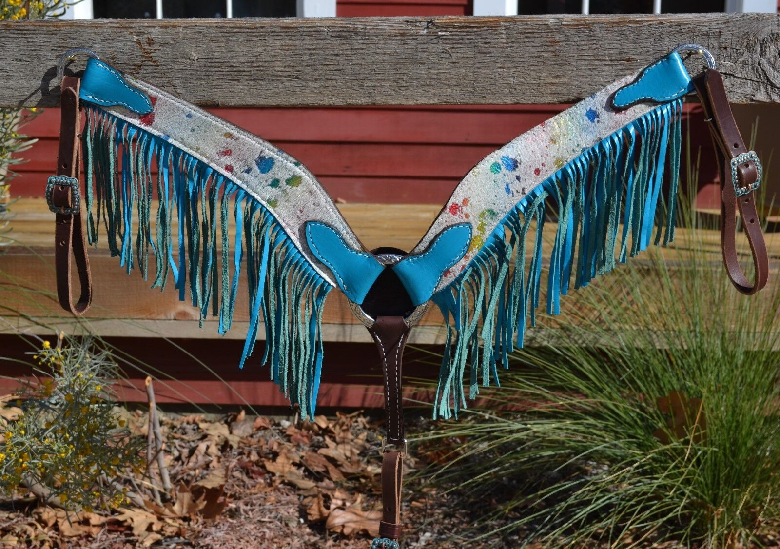 Hermosa Turquesa Arco Iris Splash ocultar pecho Collar Brillante Turquesa flecos