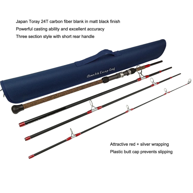 Aventik Escape 24T Carbon Travel Surf Spinning Rod 4 Pieces 9FT 15-30Ib, 1-5oz