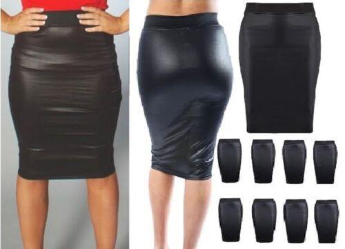 NEW WOMENS BLACK PVC WET LEATHER LOOK MINI PENCIL TUBE BODYCON SKIRT*WeTsHrT