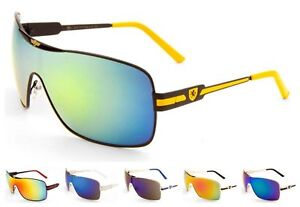 5ae2eb8679ac0 Wholesale 12 Pairs KHAN Solid One Piece Sunglasses with Color Mirror ...