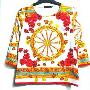 Wheel-And-Floral-Print-Elbow-Sleeves-Top