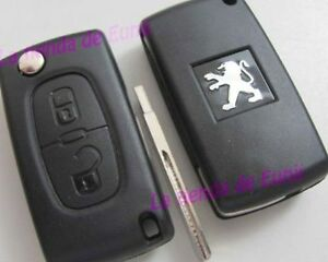 hull plip cle case remote key peugeot 2 button 207 307 308. Black Bedroom Furniture Sets. Home Design Ideas