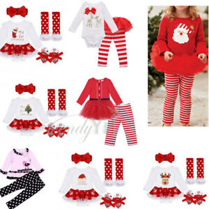My-1st-Christmas-Newborn-Girl-Baby-Clothes-Christmas-Top-Pants-Tutu-Dress-Outfit