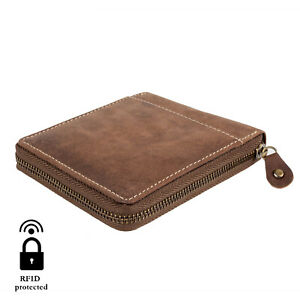 Mens Wallet Genuine Leather Credit Card Holder RFID Blocking Zipper slim coin