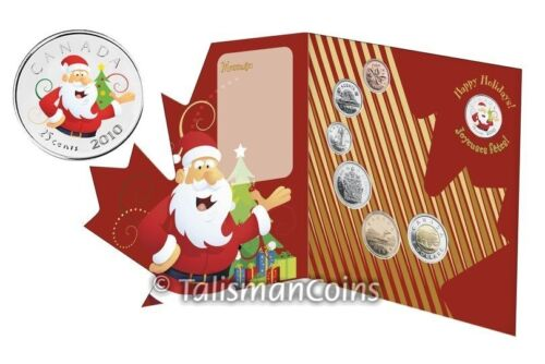 Canada 2010 Holiday 7 Coin Gift Set Mint Uncirculated Santa Claus Christmas Tree
