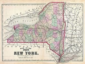 picture regarding Printable Map of New York State named Facts around 1873 BEERS MAP Clean YORK Place Basic REPRO POSTER Artwork PRINT 2959PYLV