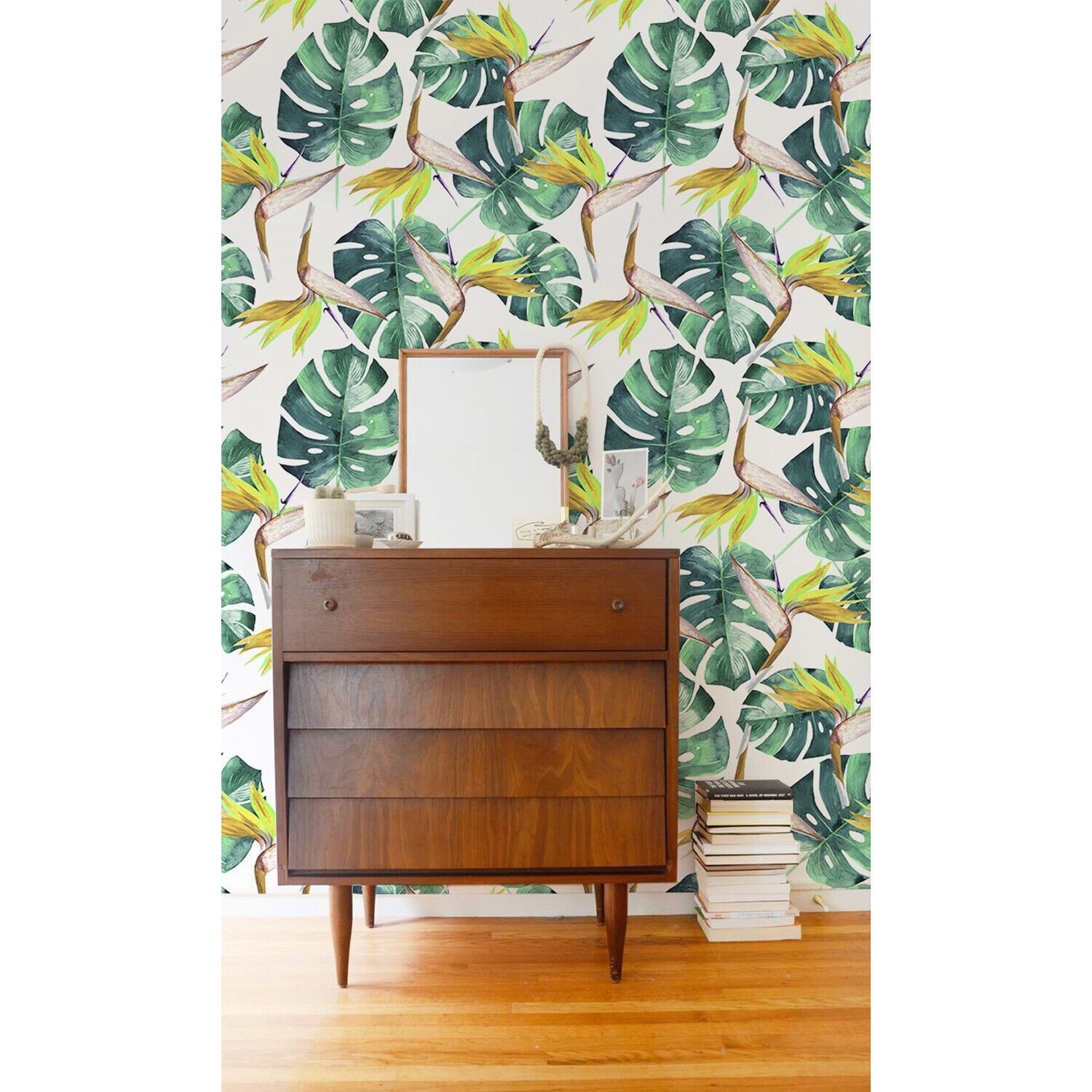Non-woven wallpaper Tropical Grün Leaves Exotic Tropical Wall Covering
