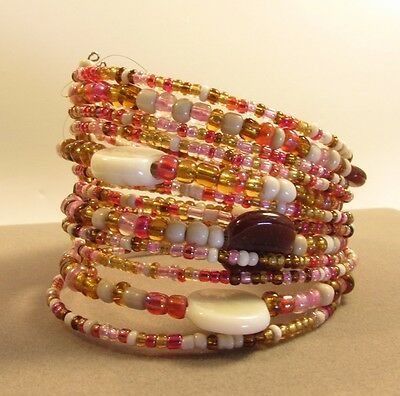 Pink Indonesian Tribal Seed Bead Bracelet w/shell, stone assorted glass beads