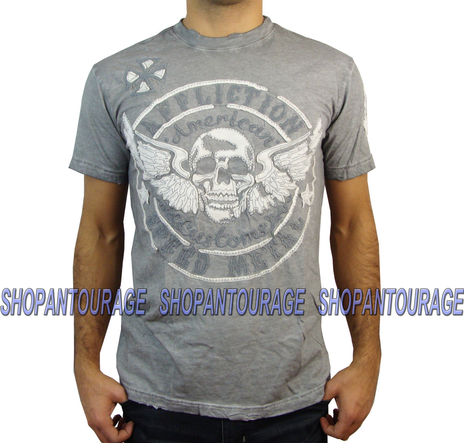 AFFLICTION Metal Relic A12070 Men`s New Weiß Oil Stain T-shirt