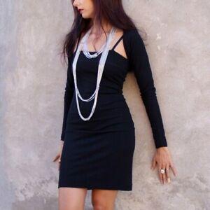 brand new 41882 e3f73 Dettagli su Vestito Donna Tubino+Coprispalle in Misto Lana Nero Foderato  Bodycon Dress XS/S