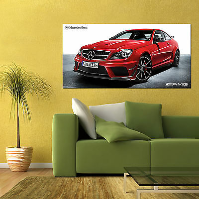 MERCEDES BENZ C63 AMG COUPE BLACK SERIES SPORTS LUXURY CAR LARGE POSTER 24x48in