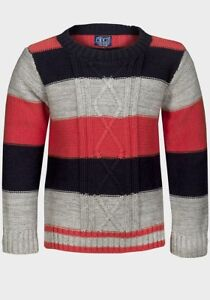 5e86321cf MINOTI BOYS kids DESIGNER crew striped knitted jumper sweater top 1 ...