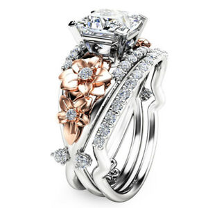 image is loading flower 925 sterling silver amp rose gold filled - White Sapphire Wedding Rings