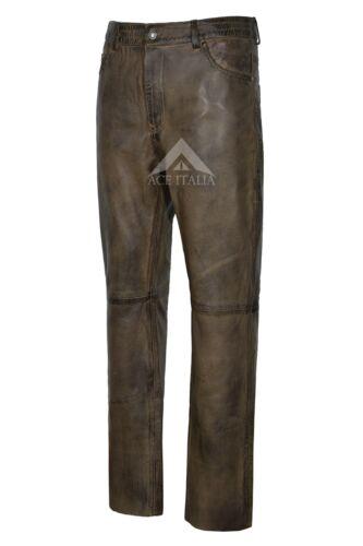 Men/'s jeans sporchi marrone cerata vera pelle moto biker Pantaloni Pants 501
