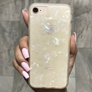 purchase cheap f83a7 a899d Details about White Crystal Marble Protective Thick Case Cover For iPhone  Models