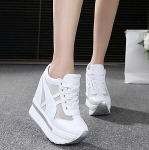 b89f82b9c17 Women Hidden Wedge High Heel Sneakers Lace Up Mesh Platform Sports ...