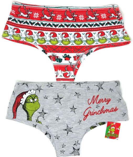 2x Der Grinch Damen Slips Hipster Pantys Lustig Motiv Weihnachten 2XS-XS Primark