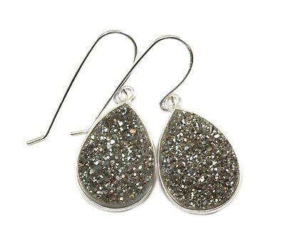 14k Yellow Gold Druzy Earrings Silvery Triple Round Bezel Long Drops 2.5 Inch