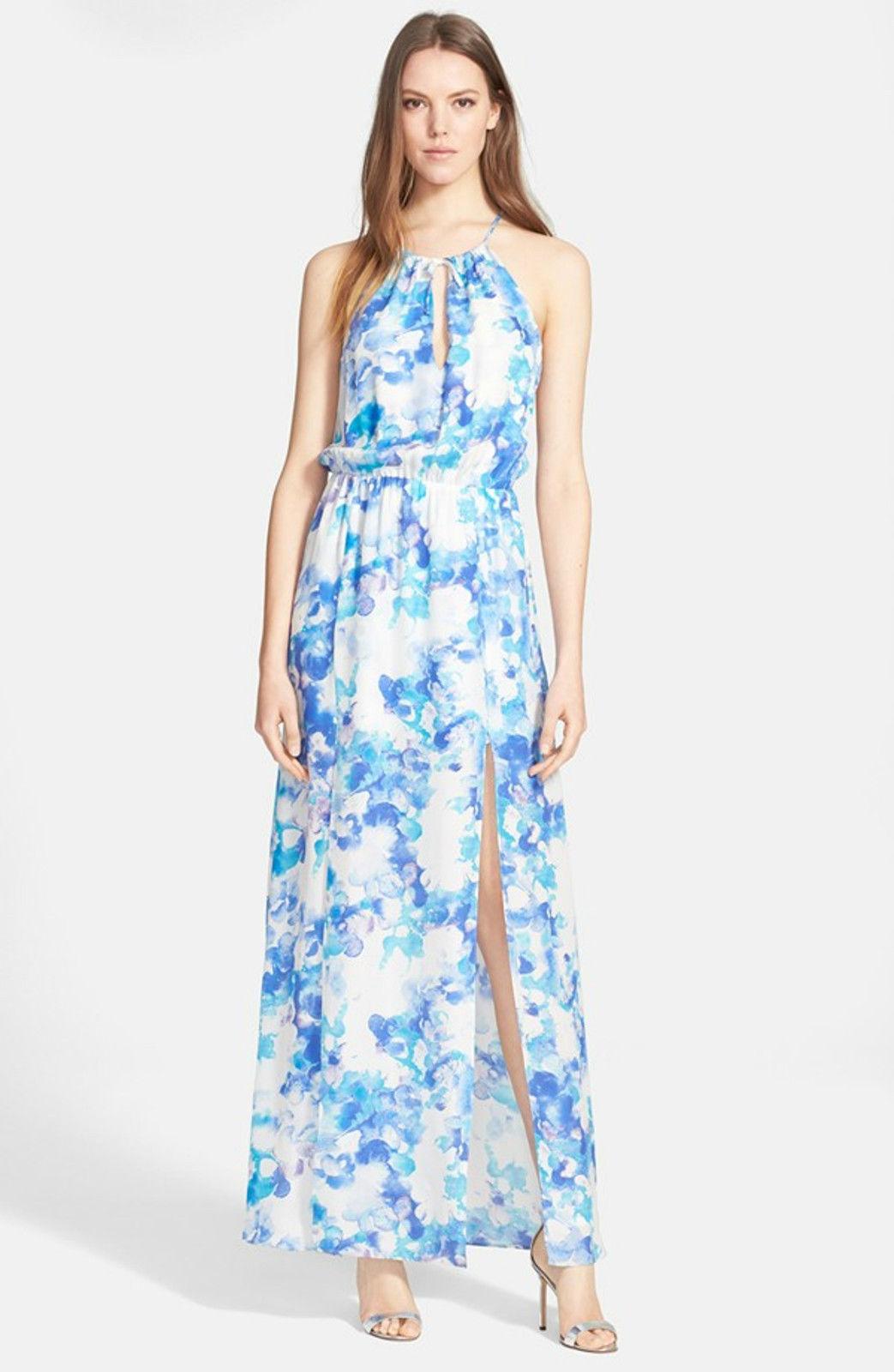 308 NWT Parker 100% Silk bluee White Lisbon Maxi Dress, Sz M  NWT MSRP  308