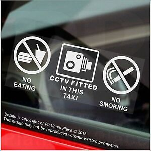 Details about 2 x TAXI-No Eating,Drinking,CCTV Fitted Stickers-Minicab Cab  Notice-50mm Signs