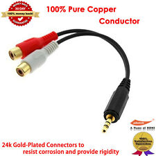 Gold 3.5MM Stereo Male To 2 Rca Female Y Cable